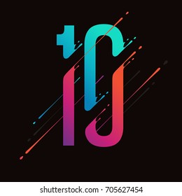 Modern abstract colorful number. Dynamic liquid ink splashes number. Vector design element for your art. Number 10