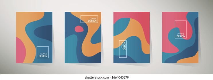 Modern abstract cover set, minimal cover design. Colorful geometric background, vector illustration.