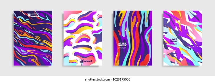 Modern abstract covers. Cool trendy fluid gradient shapes. Vector illustration
