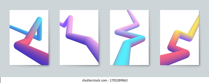 Modern abstract covers set. Abstract colorful curve line. Cool gradient shapes. Graphic concept for your design