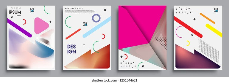 Modern abstract covers set. Cool gradient shapes composition, shapes, geometric elements. Applicable for placards, brochures, posters, covers and banners.