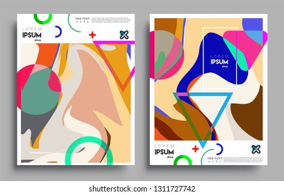 Modern abstract covers set. Cool gradient shapes composition, vector covers design.