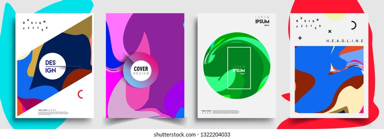 Modern abstract covers set. Cool gradient shapes composition, shapes, geometric elements. Applicable for placards, brochures, posters, covers and banners