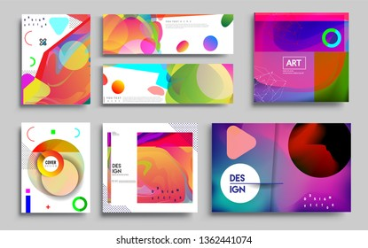 Modern abstract covers set. Cool gradient shapes composition, vector covers design. Applicable for Banners, Placards, Posters, Flyers.