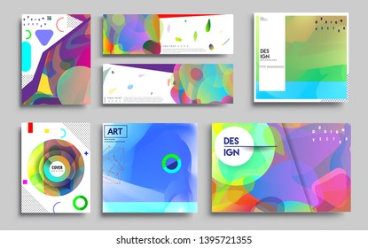 Modern abstract covers set. Cool gradient shapes composition, vector covers design. Applicable for Banners, Placards, Posters, Flyers