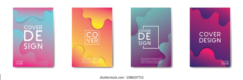 Modern abstract covers set. Cool gradient geometric art vector