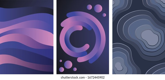 Modern abstract covers set with cool gradient shapes composition. EPS10 vector.