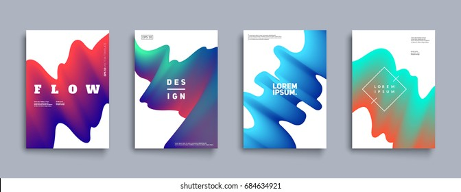Modern abstract covers set. Cool gradient shapes composition. Futuristic design. Eps10 vector.