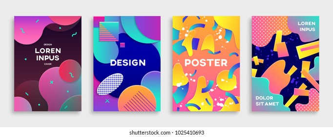 Modern abstract covers set. Covers with geometric pattern. Colorful shapes composition with gradients.