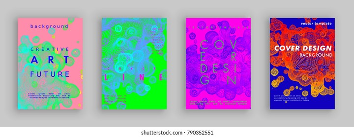 Modern abstract covers set. Liquid from lines. Fluid gradient shapes composition. Color bubbles. Futuristic cover design. Vector template brochures, flyers, presentations, leaflet, magazine a4 size