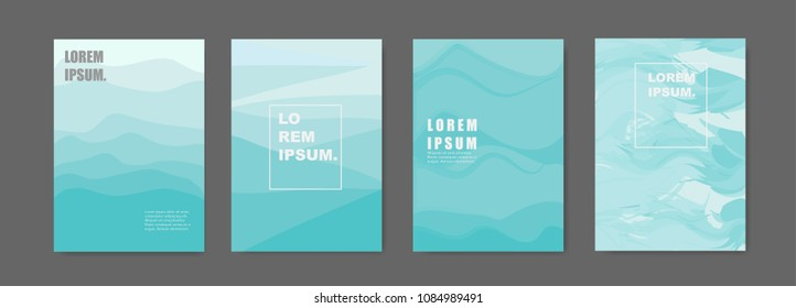 Modern abstract covers set. Sea green shade background.