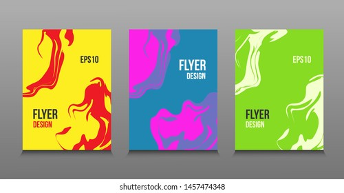Modern abstract design of colored bright liquid paints. Splash trends paints. For design presentations, print, flyer, business cards, invitations, calendars, sites, packaging and cover