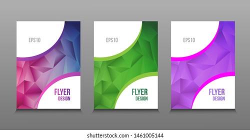 Modern abstract design of colored bright polygonal gradient flyers. Trends low poly. For design presentations, print, flyer, business cards, invitations, calendars, sites, packaging and cover