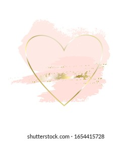Modern abstract design. Rose, nude, gold brush strokes in gold heart frame on a white background. Vector design template for banner, card, poster.