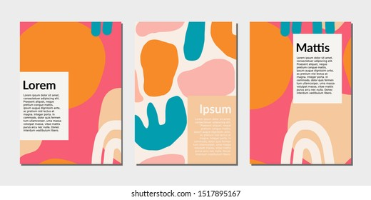 Modern abstract design templates with organic shapes in bright colors. Bold and colorful magazine covers, wedding invitations, flyers, newsletter, poster, greeting cards, packaging and branding design