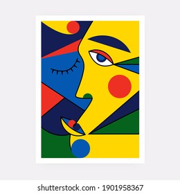 Modern abstract face portrait. Contemporary colorful background Cubism style for print, cards, textile. Vector fashion abstraction poster