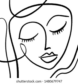 Modern Abstract Face Portrait. Linear Ink Brush. Line Art Current Contemporary Continuous Cubism Painting. Fashion Style Black And White Abstraction Poster. Vector Illustration Clipart.