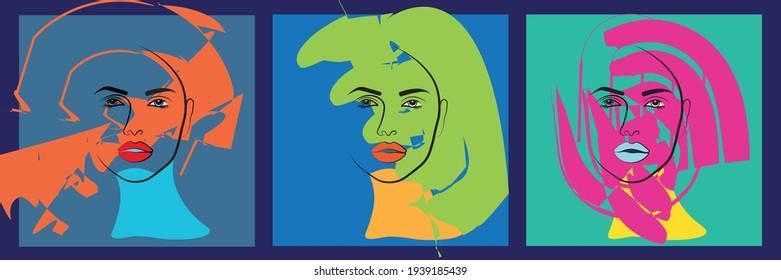 Modernes abstraktes Gesicht mit abstrakten Formen. Minimalismus-Konzept. Line Art Zeichnungsstil.Zeitgenössische Silhouette.Vector EPS10 Illustration