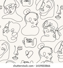 Modern abstract faces. Contemporary female silhouettes. Hand drawn outline trendy illustration. Continuous line, minimalistic concept. Colored vector seamless pattern