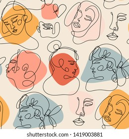 Modern abstract faces. Contemporary female silhouettes. Hand drawn outline trendy illustration. Continuous line, minimalistic concept. Colored vector seamless pattern. Pastel colors