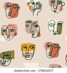 Modern abstract Faces. Various face expressions. Hand drawn Outline Vector Seamless pattern. Background, Wallpepr. Continuous line, minimalistic concept. Perfect for textile prints