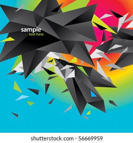 Modern abstract figure of black triangles surrounded flying splinters on a colorful background