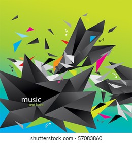 Modern abstract figure of black triangles surrounded flying splinters and notes on a colorful background.