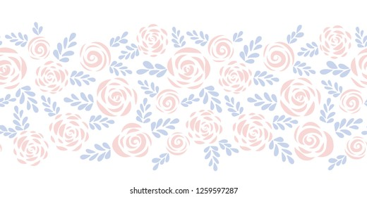 Modern abstract flat roses and leaves subtle red and blue seamless vector border. Floral silhouette. Flower pattern for Valentines, fabric, card, poster, web banner, frame, stencil, wedding invitation
