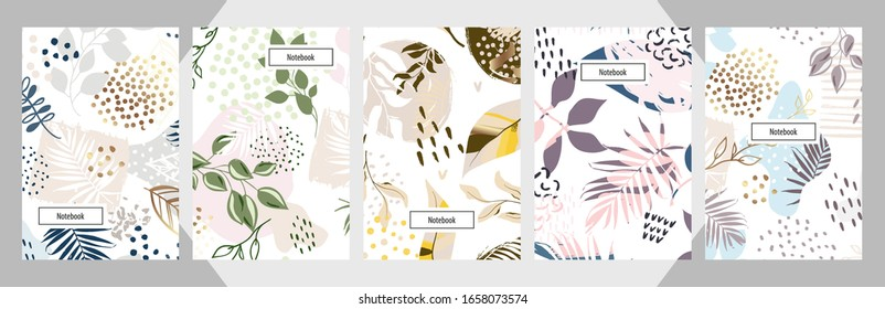 Modern abstract floral art vector notebook background. Hand draw template leaves and line art background for paper, cover, fabric, interior decor.