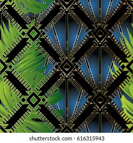 Modern abstract floral seamless pattern background wallpaper illustration with 3d palm leaves, blue diamonds, black geometric vintage zigzag  lattice and beautiful ornaments. Vector surface texture.
