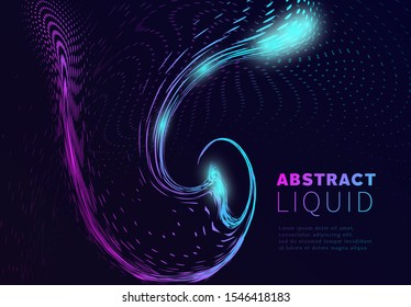 Modern abstract flow liquid with concept circles. Geometric design fluid wallpaper for banner, poster, cover, label, journal. Art cosmic graphic. Vector illustration