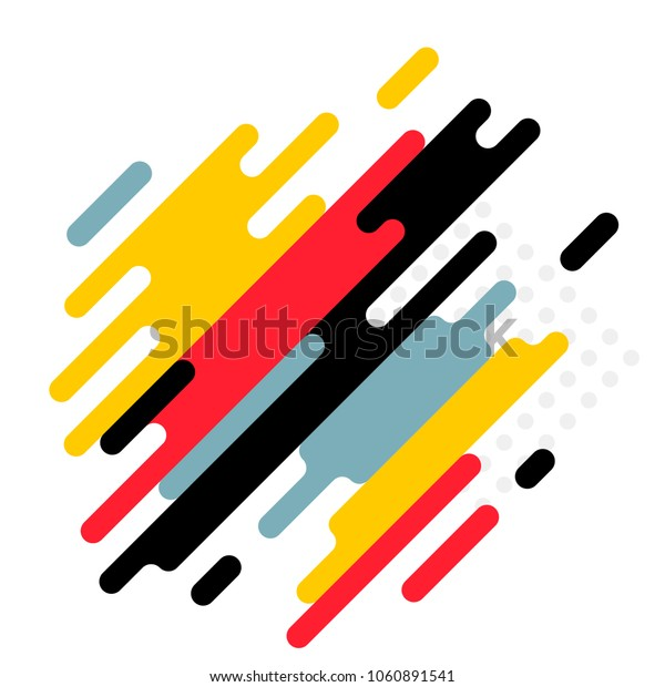 Modern abstract geometric background with various rounded linear figures. Vector illustration of a dynamic composition.