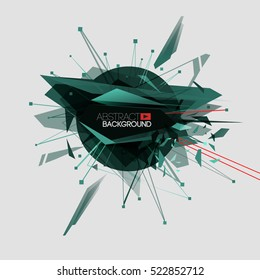 Modern abstract geometric blast Explosion background. Laser beam. Concept for cover poster design electronic music and hi-tech technology theme. Isolated vector