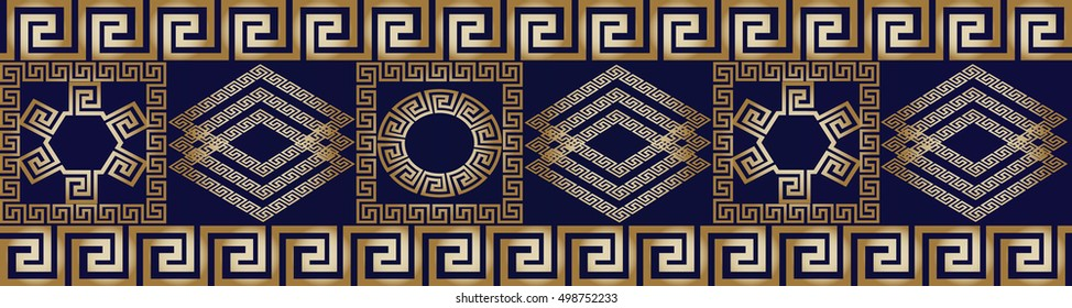 Modern abstract geometric border. Vector seamless pattern background wallpaper illustration with gold 3d vintage greek key, squares, circles, rhombus, ornaments.