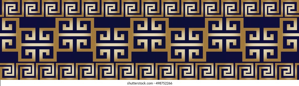 Modern abstract geometric border. Vector seamless pattern background wallpaper illustration with gold 3d vintage antique decorative greek key, squares and elegant stylish  ornaments.