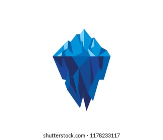 Modern Abstract Geometric Low Poly Iceberg Logo Illustration In Isolated White Background