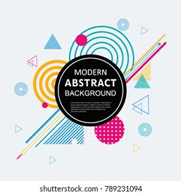 Modern abstract geometric pattern design and background with circle badge. Use for modern design poster, cover, template, decorated, brochure, flyer and fashion.