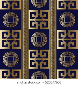 Modern abstract geometric seamless pattern background wallpaper illustration with antique gold 3d vintage greek key, squares, circles, rhombus and vintage pattern ornaments.