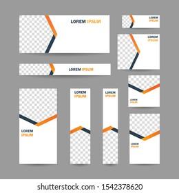 Modern abstract geometric website banner, all size template bundle set vector design