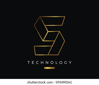 Modern Abstract Gold S Alphabet Logo, suitable for Technology, Multimedia, Photography, Marketing, Jewelry, and Other Business