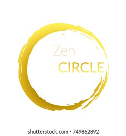 Modern abstract golden brush painted circle over white background. Graphic metallic gold gradient isolated round cut-out shape design. Vector illustration