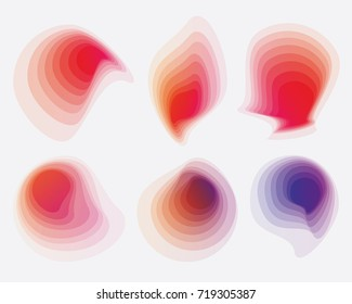 Modern abstract gradient shapes collection in red, pink and purple color hues