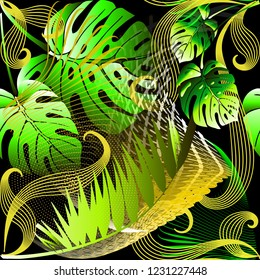 Modern abstract green palm leaves vector seamless pattern. Ornamental tropical background. Repeat bright patterned geometric backdrop. Floral exotic ornament with fractal, radial lines, dots, halftone