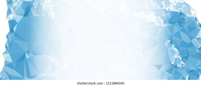 Modern abstract horizontal background with white transparent gradient for text or photos. Geometric low polygonal backdrop for web, covers, presentations layouts, title backgrounds. Vector clip art.