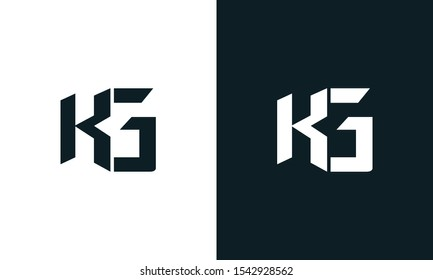 Modern abstract letter KG logo. This logo icon incorporate with two abstract shape in the creative process.