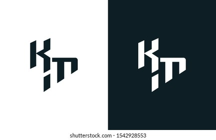 Modern abstract letter KM logo. This logo icon incorporate with two abstract shape in the creative process.