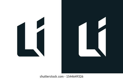 Modern abstract letter LI logo. This logo icon incorporate with two abstract shape in the creative process.