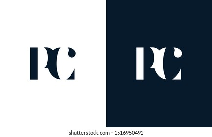 Modern abstract letter PC logo. This logo icon incorporate with two abstract shape in the creative way.