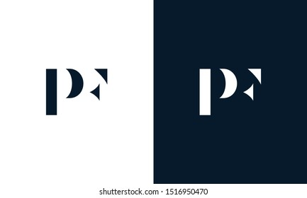 Modern abstract letter PF logo. This logo icon incorporate with two abstract shape in the creative way.