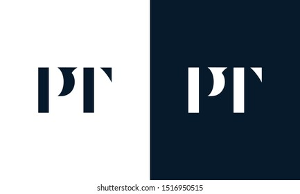 Modern abstract letter PT logo. This logo icon incorporate with two abstract shape in the creative way.